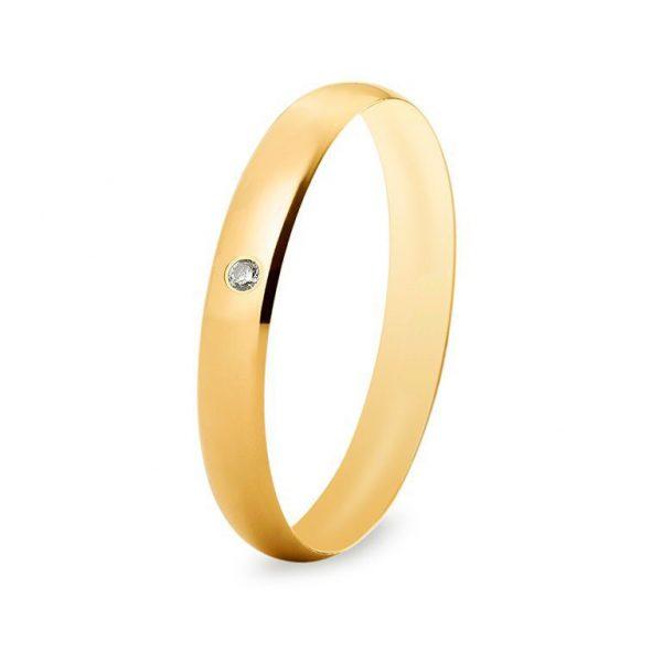 Bague de mariage en or poli et brillant central