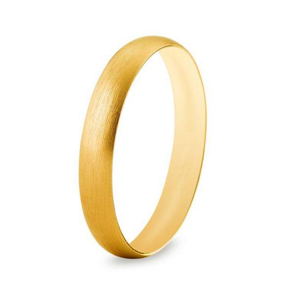Bague de mariage en or jaune et effet brossé