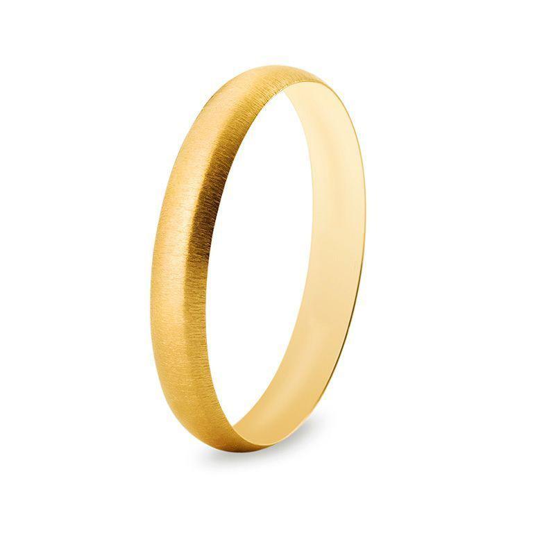 Bague de mariage en or jaune et effet brossé latéral