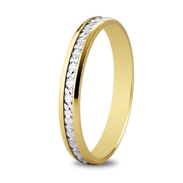 Alliance de mariage bicolore en or diamanté