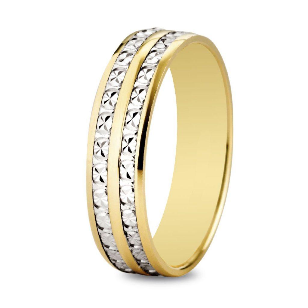Alliance de mariage bicolore en or diamanté double