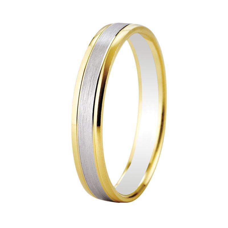 Alliance de mariage en or 18 carats bicolore