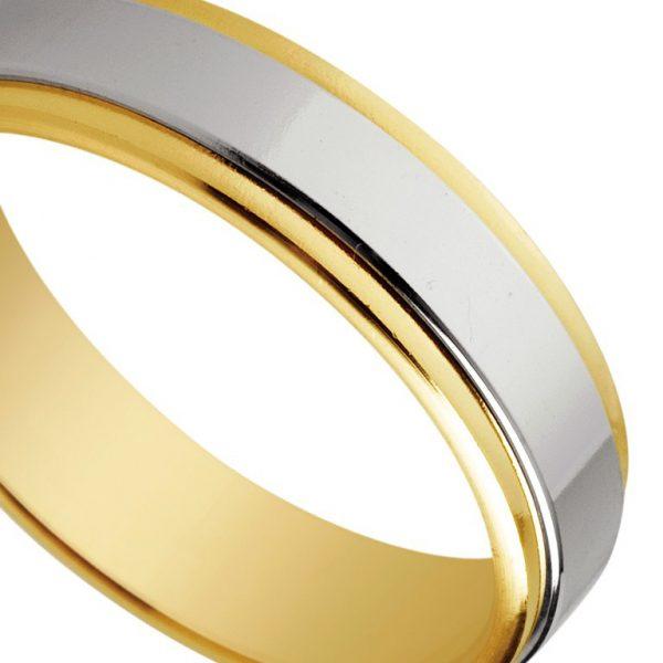 Bague de mariage en or jaune et blanc de 18 carats