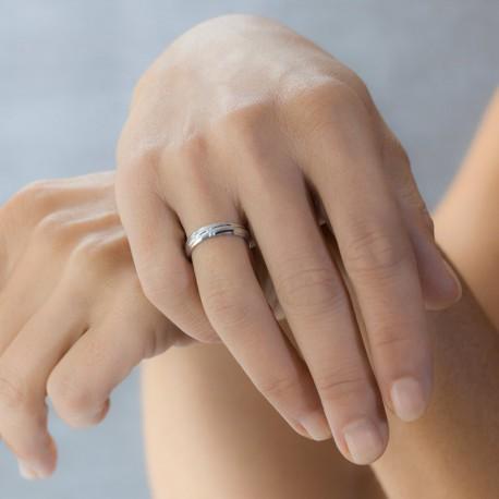 Alliance de mariage en or mixte avec rainures
