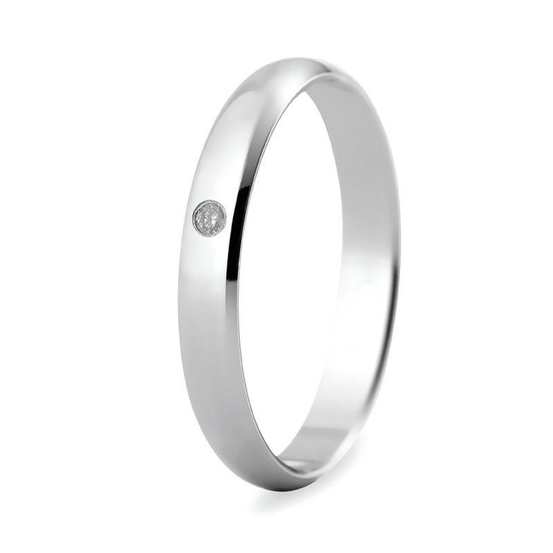 Bague de mariage en or blanc de 18 carats avec diamant